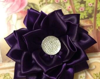 Purple Satin Ribbon Kanzashi flower hair clip