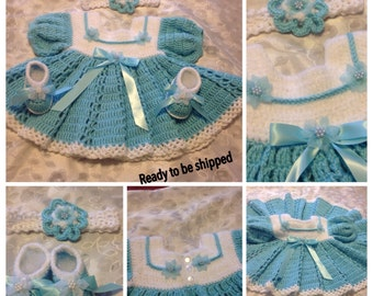 Dainty blue and white Dress 3 to 6months