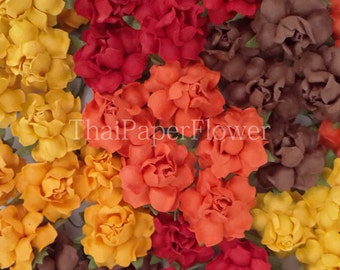 25 Brown Tangerine Fall Tone Mulberry Paper flower roses scrapbook card making home decor craft supply 19/211