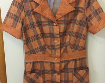 Vintage 1960 womens Orange plaid fitted top