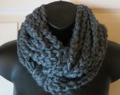 More Colors Available..Chunky Infinity Scarf..Cowl..Neck Warmer..Crochet Chain Necklace..Charcoal..Accessory..Gift