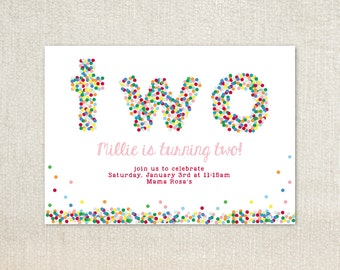 TWO sprinkle dots birthday party invitations