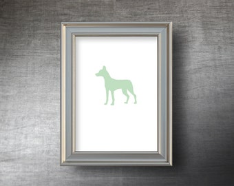 Andalusian Hound Print 5x7 - UNFRAMED Hand Cut Andalusian Hound Silhouette - 4 Color Choices - Personalized Name or Text Optional