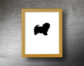Maltese Silhouette Art 8x10 - UNFRAMED Hand Cut Maltese Print - Personalized Name or Text Optional