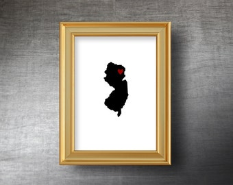 New Jersey Map Art 5x7 - Hand Cut Silhouette - New Jersey Print - New Jersey Wedding Gift - Personalized Name or Text Optional