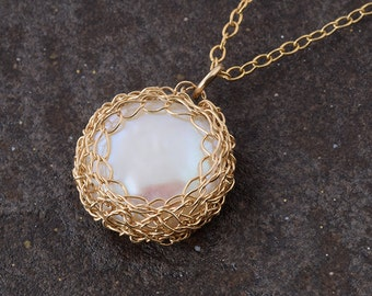 Pearl pendant, crochet 14K gold filled pendant, bridal jewelry