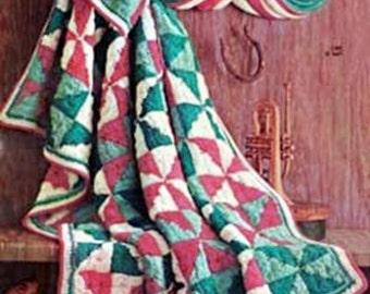 Vintage Crochet Pattern - Quilt Afghan Blanket - PDF Instant Download - Star Pattern Banket - Throw - Lap Blanket - Patchwork Country Afghan