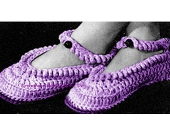 Slipper CROCHET Pattern - Mary Jane Slipper PATTERN - Vintage Pattern - Rug Slippers - PDF Instant Download - shoe slipper crochet booties