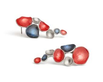 Womens Patriotic Earrings, Ruby Red & Midnight Blue Silver Plated Brass Americana Earrings, Handpainted Lustrous Crystal Resin Earrings Gift