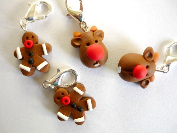 Crochet Stitch Markers Uk : Crochet stitch markers: reindeer and gingerbread men, polymer clay ...