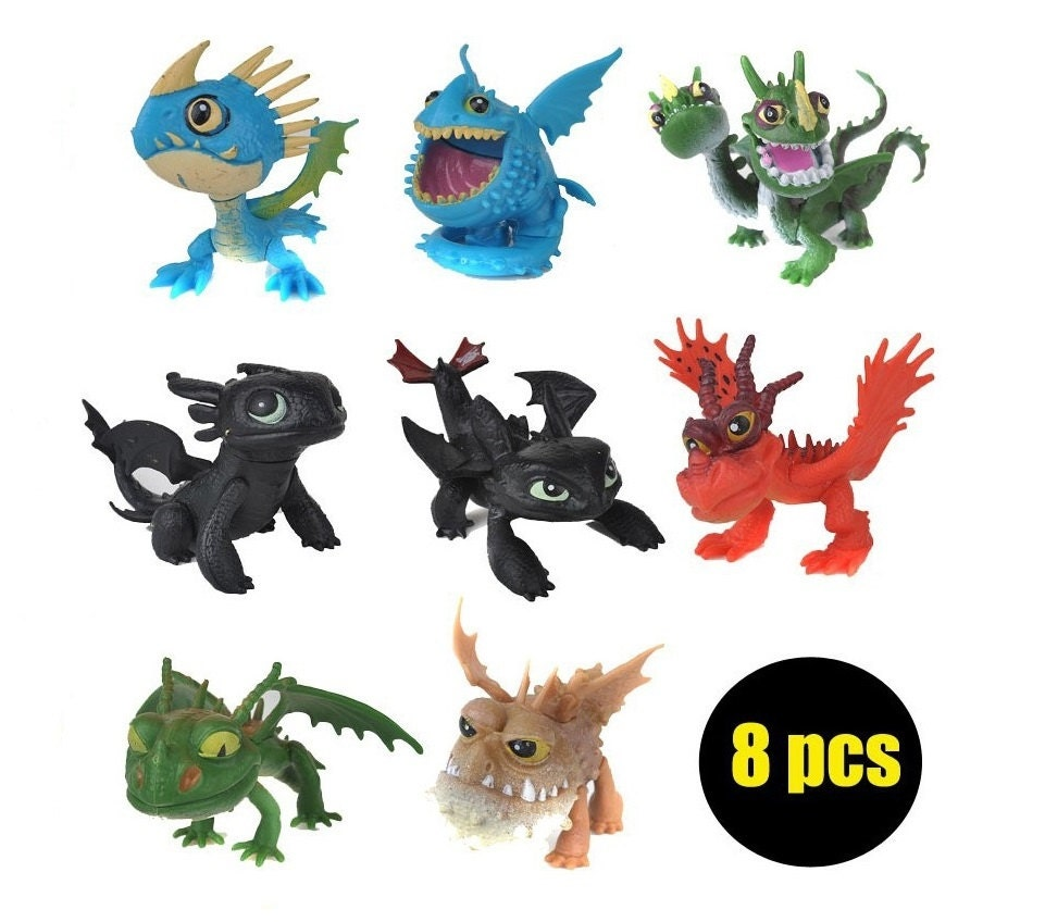 How To Train Your Dragon 2 Cake Topper Toothless Stormfly Gronckle 8 Figure  Set Birthday Party