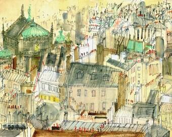 Paris Rooftops, Opera Garner Paris Watercolour, Paris architecture, Paris Art Print, Paris Painting, Paris Skyline, Clare Caulfield