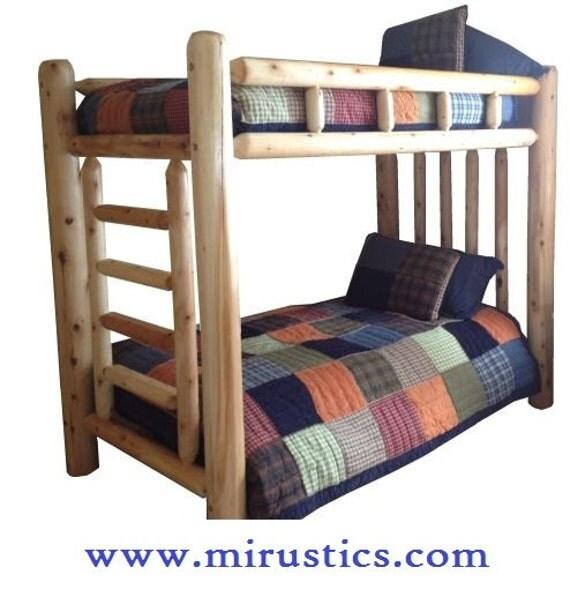 Rustic cedar log bunk bed choose your finish for Log loft bed