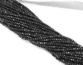 3mm Rondells Jet Black Chinese Crystal Strand Extra Long 16 inch 200 Beads Approx.2.7mm x 2mm - DC100-Black