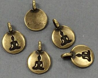 Meditating Buddha Charm 17x12mm Oxidied Brass Finish TierraCast Charms - P2407BO