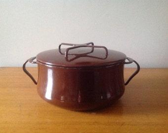 Mid Century Dansk Kobenstyle Brown Enamel Dutch Oven