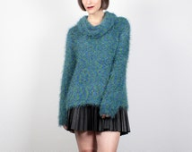 Vintage 90s Sweater Furry Fuzzy Fluffy Textured Knit Jumper High Neck Techno Sweater Club Kid Cyber Knit Empire Records Blue Green L Large