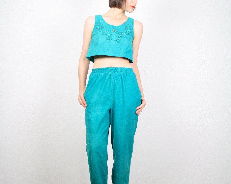 Vintage Crop Top Harem Pants Set Matching by ShopTwitchVintage