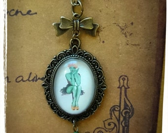 Zombie Pin Up Cameo Necklace