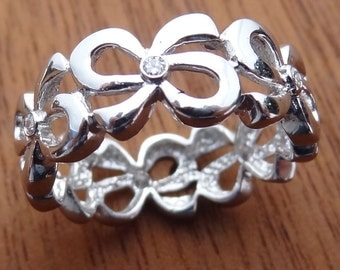 Bows and Diamonds Wedding Band Ring 14k Solid White Gold