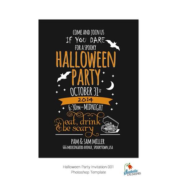 Halloween Party Invitation Photoshop Template 001