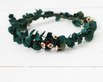 Hunter Green Eucalyptus+Cherry Blossom Floral Crown with REAL Eucalyptus