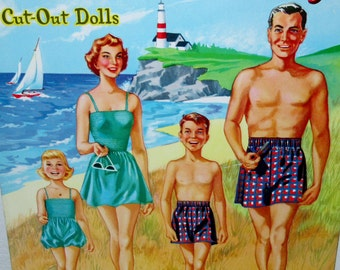 Vintage 1954 We're a Family paper doll cut outs by   WHITMAN #1181 Uncut ** Epsteam