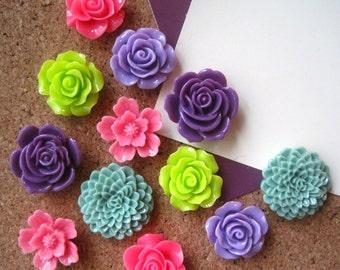 Thumbtacks, Bright Flower Pushpins, 12 pcs, Office Supply, Bulletin Board Tacks, Wedding Decor, Housewarming Gift