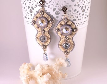 Bead embroidery Earrings Мoonlight  with  Swarovski  crystals