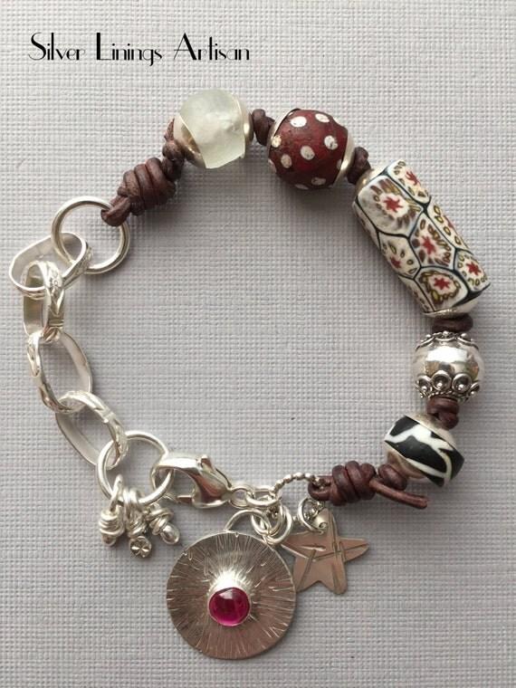Antique African Trade Bead Bracelet Handmade Tribal Artisan