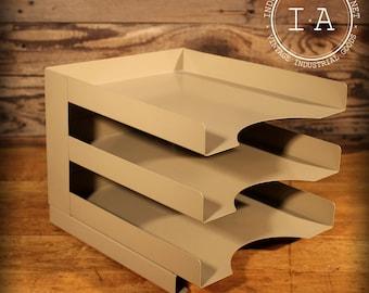 Vintage Steel Desktop File Organizer Inbox Outbox Desk Caddy Shelf Paperwork