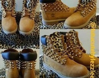 Leopard Spiked Timberlands - Youth Sizes 4 to 7