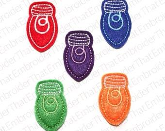 UNCUT Holiday felt light bulb applique embellishments (4)