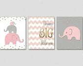 Gold Nursery Art, Pink Gray Gold Nursery, Baby Girl Elephant Nursery, Dream Big Little One, Pink Gold Nursery Decor, Faux Gold Foil Art