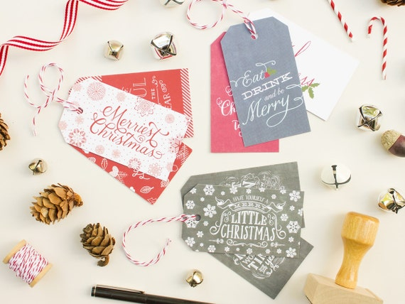 Christmas Gift Tags, Custom Christmas Tags with Baker's Twine, Holiday Gift Labels | Variety Pack
