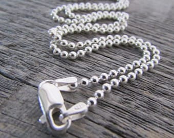 Sterling Silver Dog Tag Chain, 24 Inch Chain, 2mm Chain, Sterling Ball Chain, Bead Chain, Sterling Dog Tag Chain, 925 Ball Chain Necklace
