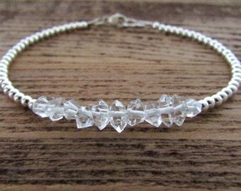 Herkimer Diamond Bracelet, Herkimer Bracelet, April Birthstone Bracelet, Crystal Quartz Bracelet, Crystal Bracelet, Gemstone Bracelet
