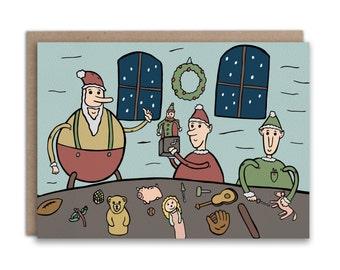 Santa's Workshop Christmas Card // Hand Drawn Illustrated Christmas Card