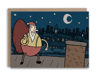 Up on the Rooftop Santa Christmas Card // Hand Drawn Illustrated Christmas Card