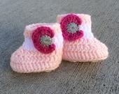 Crochet Pink Colorado Flag Baby Booties, Colorado Baby Booties, 0-3 months, 3-6 months, baby booties