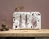 Small Cosmetics pouch, Wallet, hand printed canvas, Plants stamp,  Geometric, Zipper pouch, leaves