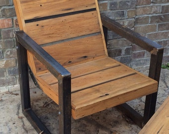 Reclaimed Wood and Steel Outdoor Chair