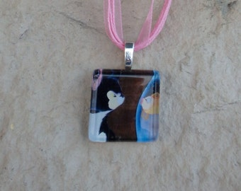 Disney Animals Collection Figaro and Cleo from Disney's Pinocchio Glass Pendant and Ribbon Necklace