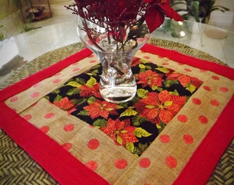 Delightful Poinsettia Burlap Tablerunner