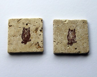 Owl Stamped Stone Coaster set, Backsplash tile, Rustic Decor,  Travertine Tile coaster, Tumbled stone tile, drink coaster