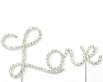 Bling Crystal Silver Love Cake Toppers Top for Wedding Birthday Anniversary