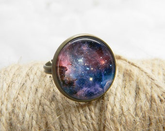 Space Ring Art Jewelry Print Photo Galaxy Nebula Ring Gift For Her (285)