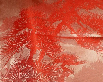 SF1010 Vintage Japanese Shimmery Orange with Textured Pines on Silk Kimono Fabric