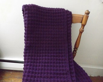 Dark Purple Crocheted Throw/Violet Crocheted Afghan/Dark Violet Crocheted Blanket/Dark Purple Throw/Dark Purple Crocheted Blanket