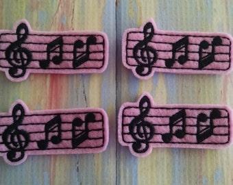 "Pink Music Notes, set of 4, Felties, 1.25"" x 2.25"""